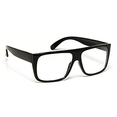 beb8bba193 Glasses neutral KISS - style JACOBS Flat Top - optical frame VINTAGE man  woman SUPER COOL - BLACK  Amazon.co.uk  Clothing