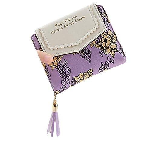Topdo - Monedero de lujo para mujer, diseño de flores morado ...
