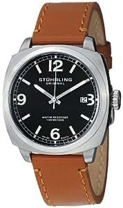 Stuhrling Original Men's 451.3315K1SET Leisure Eagle Square Swiss Quartz Date Leather Strap Set Watch
