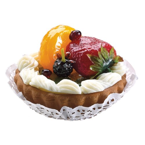 3'' Artificial Kiwi, Strawberry & Blueberry Tart w/Cream -Green/Red (pack of 18) by SilksAreForever