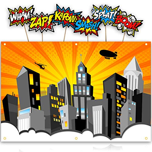 XL Superhero Backdrop with 6 Comic Action Word Photo Booth Props Compliments any Super Hero Birthday Party | Cityscape Back Drop Banner Decoration Hangs on Wall Easily. (Orange)]()
