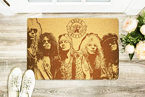 Guns n Roses 24x16 inch Doormat Indoor Outdoor Decorative Rug Non-Slip Rubber Mat Wedding Holiday Birthday Easter New Homeowner Gift for Parents Bride Groom Newlywed Boy -
