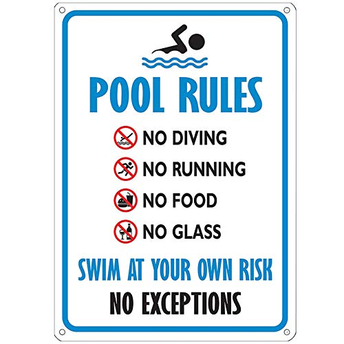 Vranky 0.4mm Pool Sign - Swimming Pool Rule Sign,14 x 10,Rust Free Aluminum Sign,Easy to Mount Indoors & Outdoors