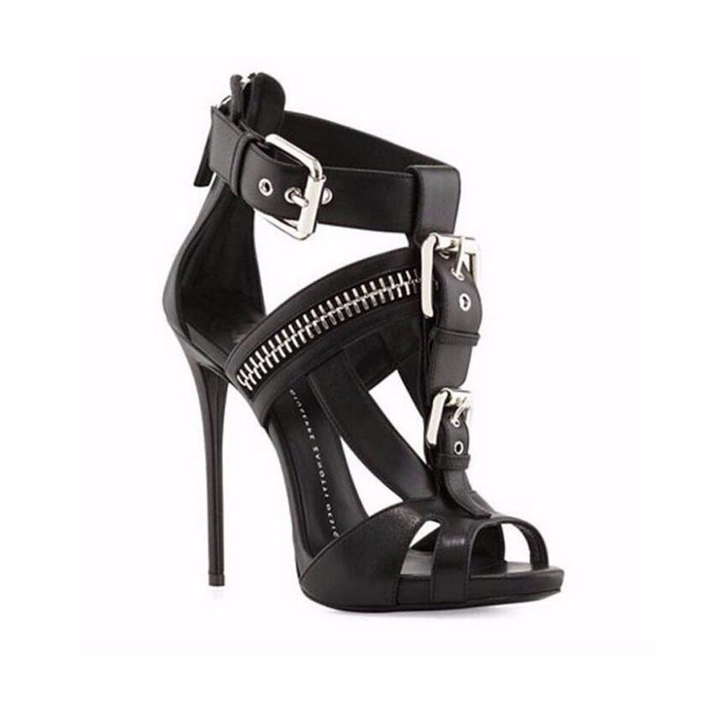 YWNC Damenschuhe Stöckel Absatz Absatz Stöckel Sandalen mit hohen Absätzen Mode Schuhe ein Wort Schnalle Party Bankett große Größe Schuhe Spitz weiß schwarz , 37 , schwarz - b0960f