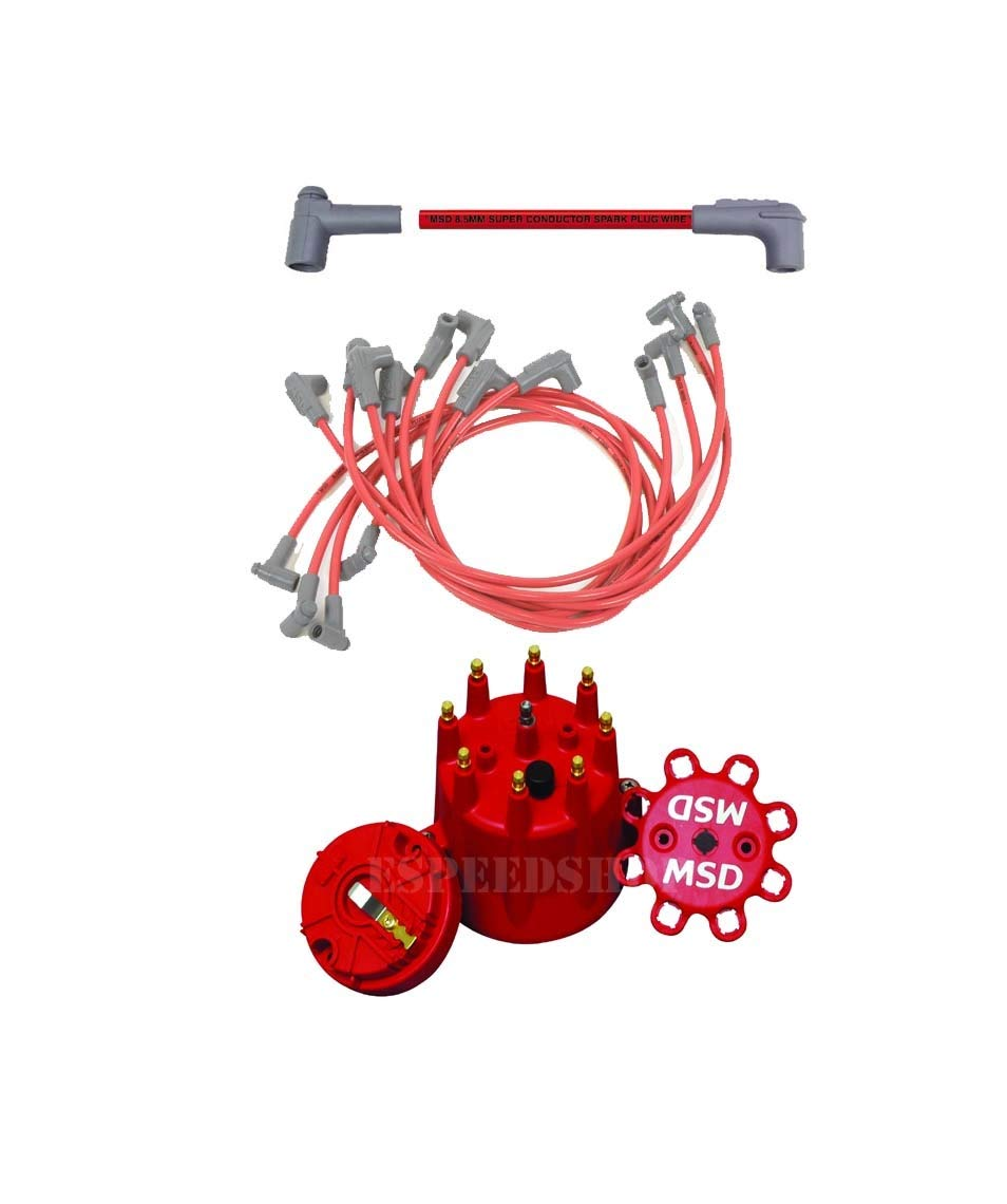 Msd 35659k1 Cap Rotor 85 Red Wire Set Small Block Coil Wiring 69 Chevy 350 With Distributor Automotive
