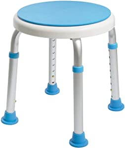 Medical Tool-Free Assembly Adjustable Swivel Shower Stool Seat Bench with Anti-Slip Rubber Tips for Safety and Stability