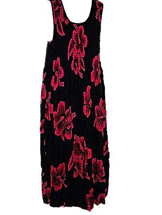 Plus Size Hawaiian Pink Hibiscus Tank TOP Long F01 Sun Dress ...