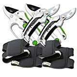 Cate's Garden 6-Piece Garden Tool Set- 2 Ultra Comfort Knee Pads, 2 Bypass & 2 Ratchet Pruning Shears 8'' Easy Action Anvil-type Premium Hand Pruner - Heavy Duty SK5 High Carbon Blades