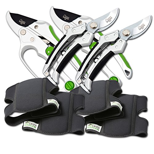 Cate's Garden 6-Piece Garden Tool Set- 2 Ultra Comfort Knee Pads, 2 Bypass & 2 Ratchet Pruning Shears 8'' Easy Action Anvil-type Premium Hand Pruner - Heavy Duty SK5 High Carbon Blades by Cate's Garden