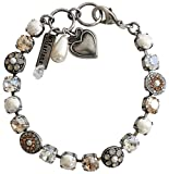 "Mariana Silvertone Flower Shapes Crystal Bracelet, 7.25"" Champagne 4044 3911"