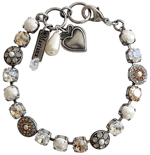 Mariana Silvertone Flower Shapes Crystal Bracelet, 7.25'' Champagne 4044 3911 by Mariana