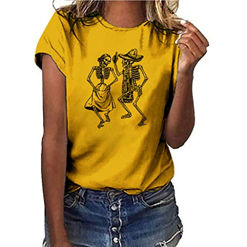 LONGDAY Women Plus Size Summer Short Sleeves Sunflower T-Shirt Tunic Girls Top Casual Print Tee Crew Neck Loose Blouse]()