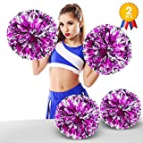 ANALAN 21 Colors Pack of 2 Foil Plastic Metallic Cheerleading Pom Poms for Cheer Sport Kids Adults(Pink and Silver)