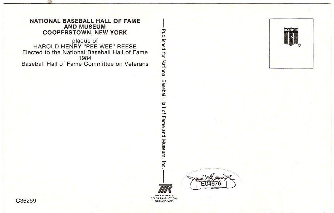 Pee Wee Reese Dodgers Autographed Signed Hall Of Fame HOF Plaque Postcard Auto JSA Authentic Sticker