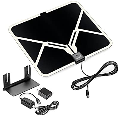 ViewTV Flat HD Digital Indoor Amplified TV Antenna - 65 Miles Range - Detachable Amplifier Signal Booster - Antenna Stand - 12ft Coax Cable - Black