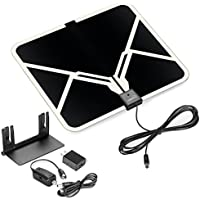 ViewTV 65 Mile Range Flat HD Digital Indoor Amplified TV Antenna - Detachable Amplifier Signal Booster - Antenna Stand - 12ft Coax Cable - Black