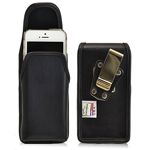 5 Vertical Leather Pouch (iPhone SE and 5 Belt Case, Turtleback Vertical Apple iPhone SE 5 5s 5c Holster, Rotating Belt Clip, Black Leather Pouch, Heavy Duty Made in USA)