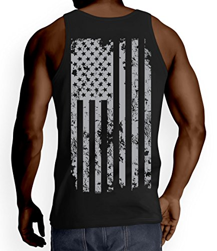 Mens Silver American Flag T shirt