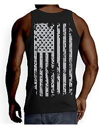 Mens Big Silver American Flag Tank Top T-shirt