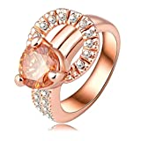Daesar Rose Gold Plated Rings Womens Round Cubic Zirconia Rings Promise Rings Size 8