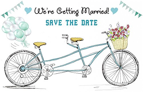 Sophie's Favors and Gifts Tandem Bicycle Wedding Save The Date Postcards - 4in. X 6in. (75)