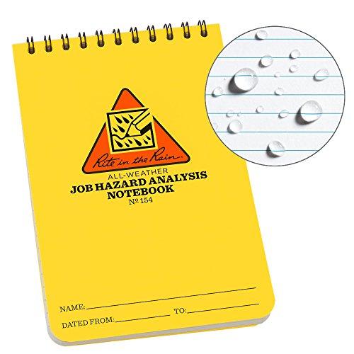 Rite in the Rain - Cuaderno de espiral para todo tipo de clima, 7.62 cm x 12.70 cm, tapa amarilla, resumen de trabajo (No....