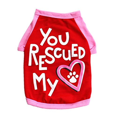 Howstar Pet Shirts You Rescued My Heart Printed T Shirt For Dog Puppy Summer Clothes Vest Sweatshirt Tank Tops (L, Red)
