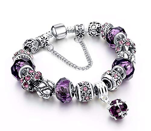 YOUFENG Love Beads Charms Bracelet for Girls and Women Murano Glass Beads Rose Flower Charms Amethyst Bracelets (Emoji Charm Bracelet) (Love Pandora Bracelet)