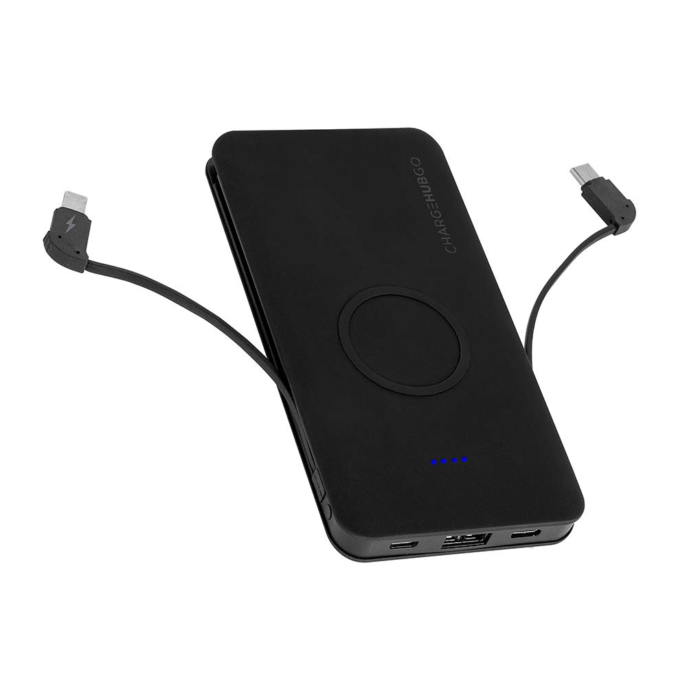 ChargeHubGO+ 5000 mAh All-in-One Charging Solution with Wireless Charging Pad & 2 Built-in Charging Cables Compatible with Apple Devices and Android Devices by Limitless Innovations