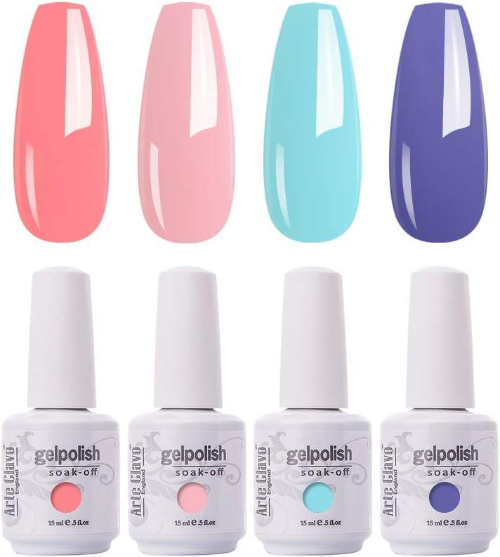 Amazon Com Arte Clavo Gel Nail Polish 4 Colours Set Uv Led Soak Off Nail Art Manicure Salon Set 15ml Health Personal Care