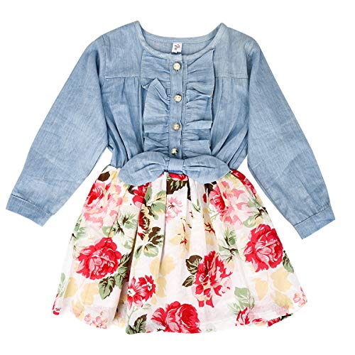 MingAo Girls Princess Dress Denim Tops Floral Skirts, One-Piece, Long ()