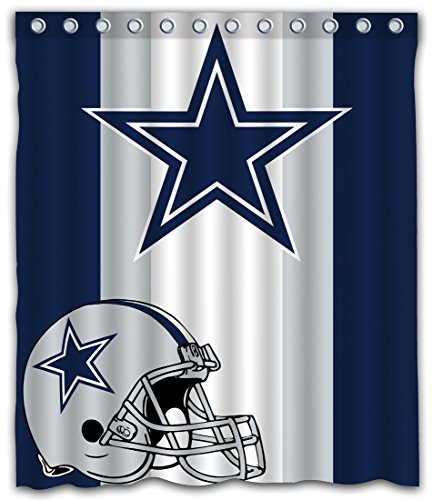 Sonaby Custom Stripe Dallas Cowboys Waterproof Fabric Shower Curtain for Bathroom Decoration (60x72 Inches) ()