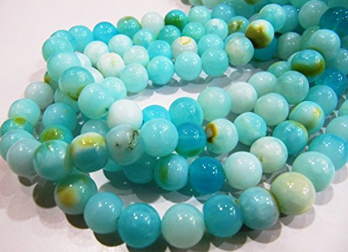Very Good Quality Natural Blue Opal Round Plain Beads 8 to 9mm Peruvian Opal Smooth Beads Strand 13 inches Rock bottom Price- Wholesale Rate (Peruvian Opal Round Beads)