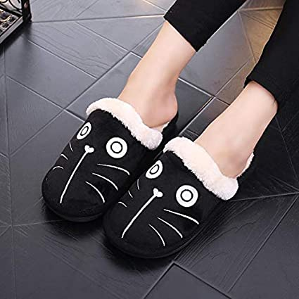 Culturemart Winter Women Slippers Lovely Cotton Dog Cat House Slippers Ladies Plush Fur Warm Outdoor Indoor