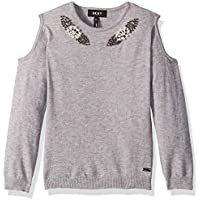 DKNY Girls' Cold Shoulder Pearl Sweater,