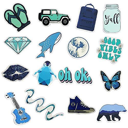 Vsco Water Bottle Laptop Stickers Packs, Big 50 Pcs, Waterproof Trendy Aesthetic Blue Vinyl Cute Stickers Pack for Teens Phone Luggage, Car
