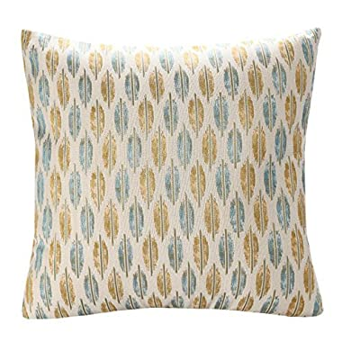 Simple Jacquard Leaf Pattern 18-Inch-by-18-Inch Throw Pillow Cover - Multicolor