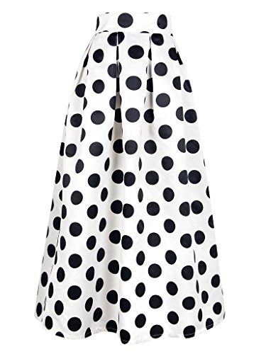 CHOiES record your inspired fashion Women's Casual White Polka Dot Print Long Maxi Skirt 14