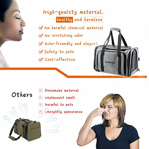 Pet Carrier for Dogs & Cats - Airline Approved Expandable waterproof Soft Animal Carriers -Portable Soft-Sided Air Travel Bag- Eco-friendly material Roomy With a Side Pocket and a Fleece Bed by Odie Tom (Image #4)