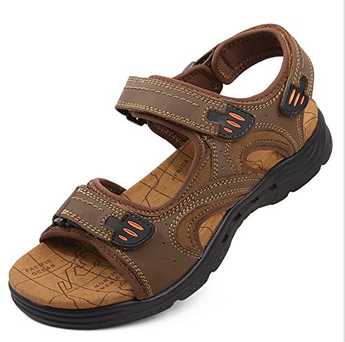 Per da EU Colore 2 Marrone Casual Pelle 3 Dimensione 44 spiaggia Scarpe Marrone pantofole Uomo Wagsiyi Sandali Antiscivolo In Traspiranti 00Sgvq