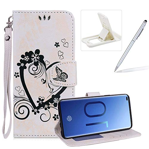 PU Leather Case For Galaxy S10 Plus,Strap Magnetic Wallet Folio Cover for Galaxy S10 Plus,Herzzer Elegant Slim Beige [Love Hearts Flower Embossed] Stand Phone Case ()