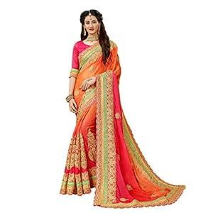 MANOHARI Women's Chiffon Saree With Unstitched Blouse Piece (MN360_Orange)