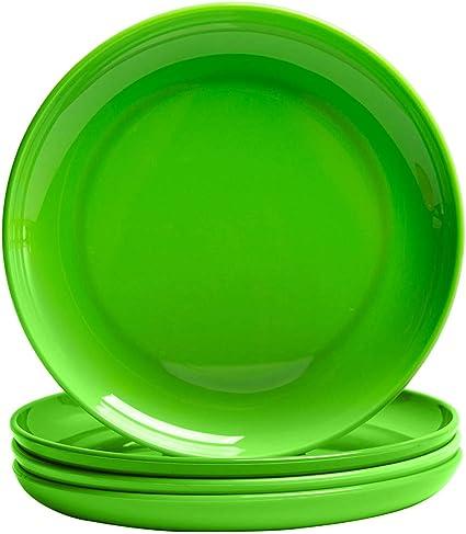 MICHLEY Vajilla Moderna Tritan platos plastico 19.5cm vajilla colores 4 Piezas Verde