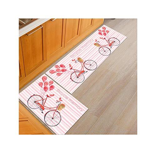 Modern Cartoon Print Kitchen Rug Caet Mat Set Long Washable Doormat Front Door Mat Entrance Tapis,Bicycle,40X60