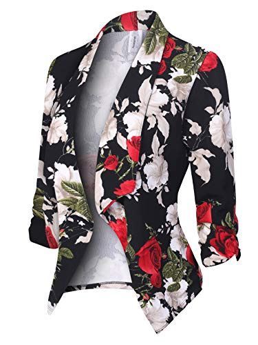 MixMatchy Women's [Made in USA] Classic 3/4 Gathered Sleeve Open Front Blazer Jacket (S-3XL) Flower Print #8 - Womens Jacket Blazer