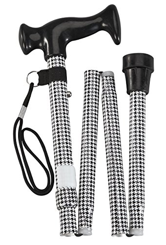 Fashion Folding Cane - Collapsible Lightweight Walking Stick for Men and Women - Adjustable Mobility Aid with Soft Comfort Grip - Black and White Design -