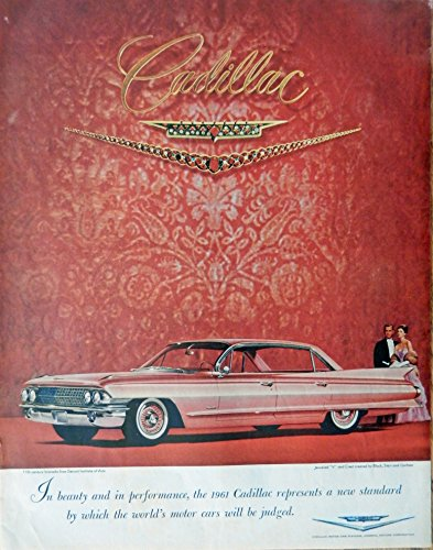 Gorham Saturday Evening Post - 1961 Cadillac, 60's Print ad. Full page Color Illustration (jeweled