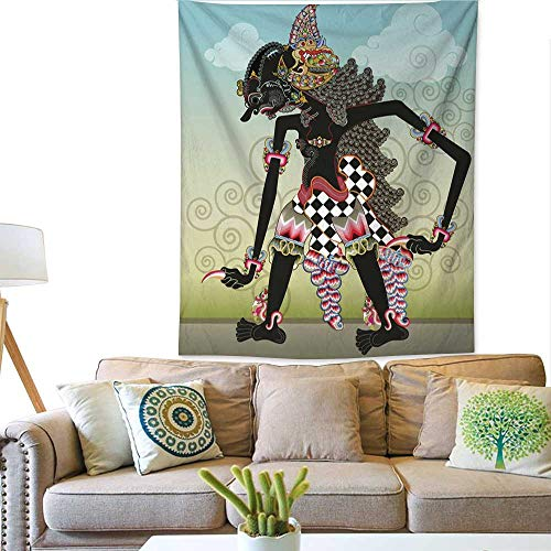 (BlountDecor Pattern Tapestry Knight Character on Shadow Puppets 70W x 93L INCH)