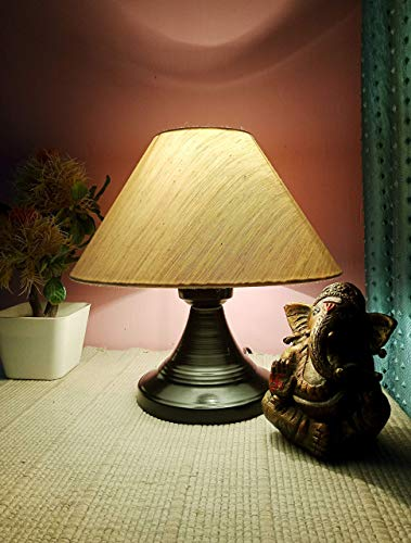 M2 Look of White Conical Shade and Beautiful Design Black Metal Base Table Lamp