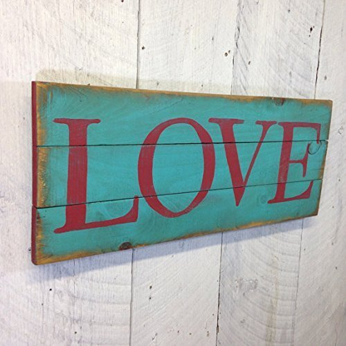 Amazon Com Large Love Sign Rustic Wood Sign Turquoise Painted